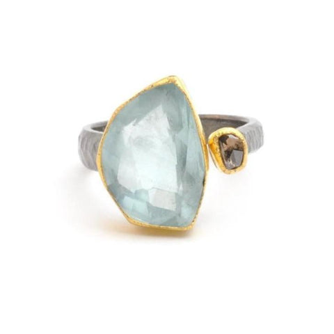 Aquamarine Bent Up Statement Ring