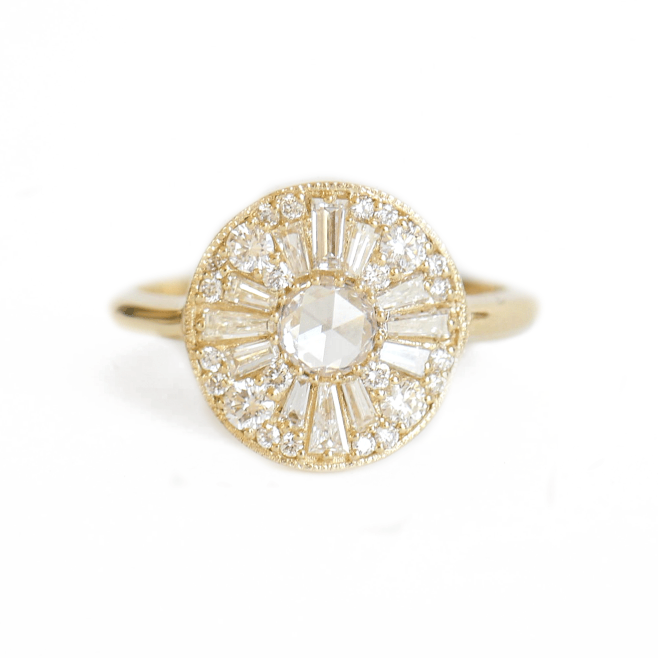 Round Rose Cut Diamond Cluster 14K Ring