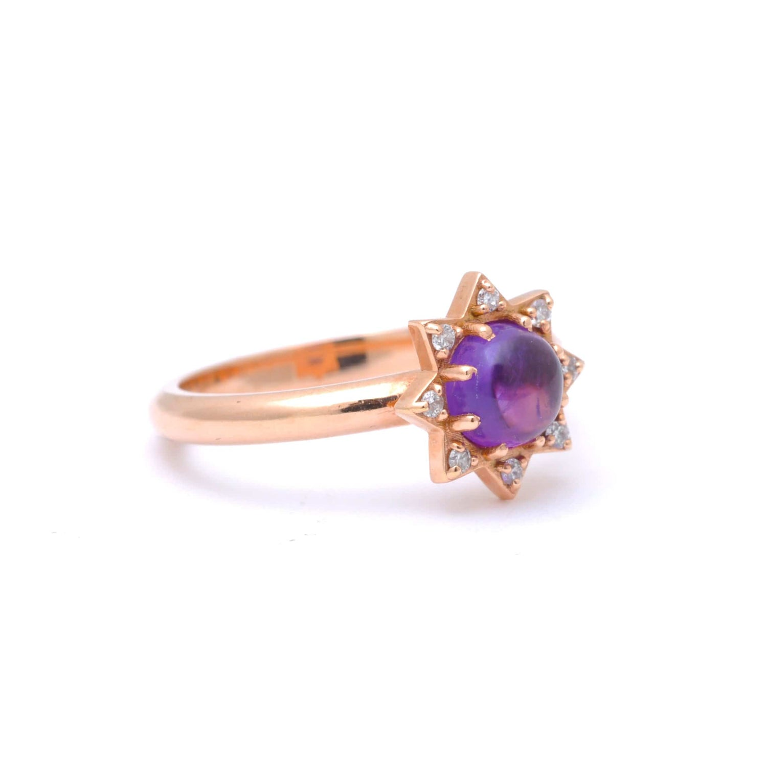 Amethyst and Diamond Starburst Rose Gold Ring