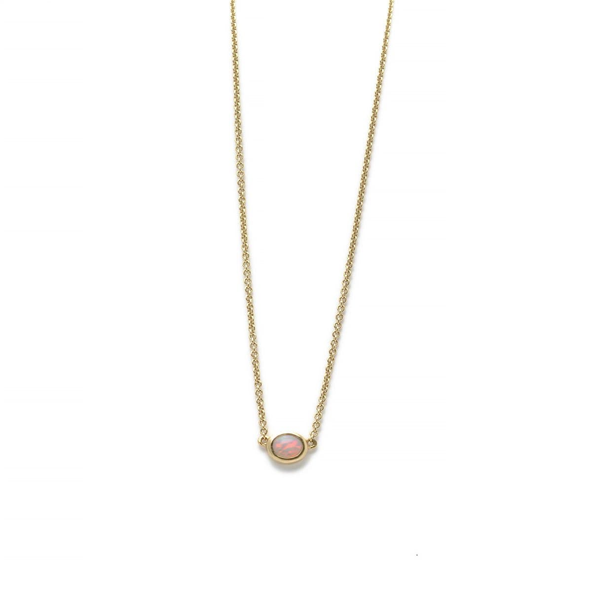 Bezel Opal Solitaire Yellow Gold Necklace