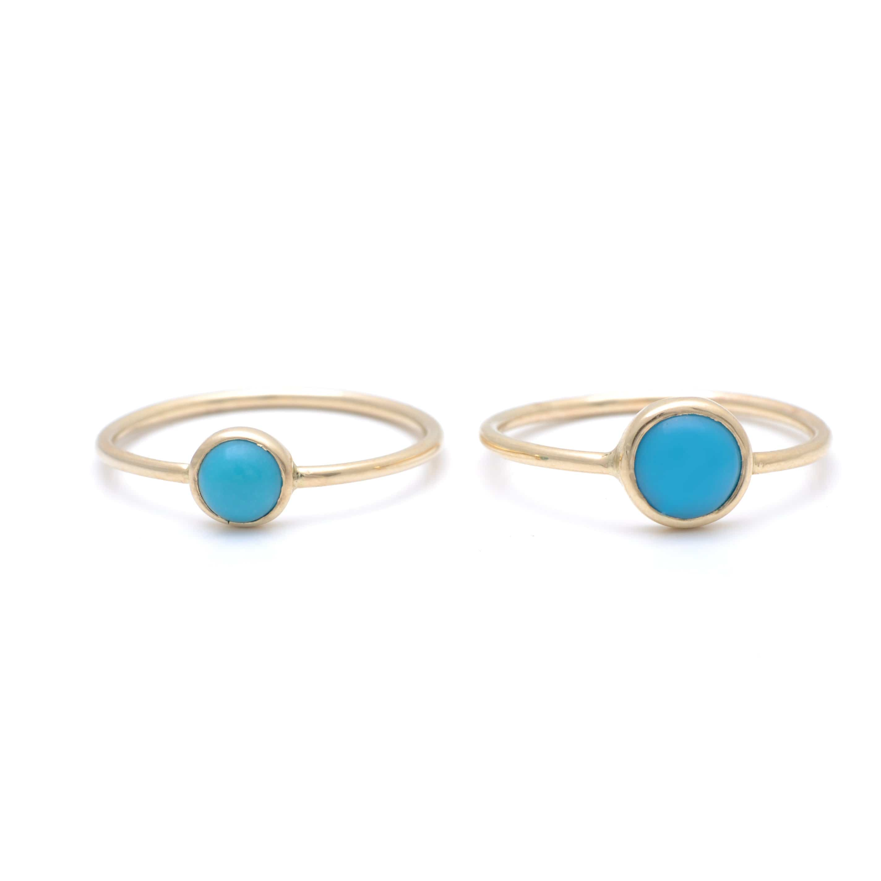 Small and medium Round Turquoise Gold Bezel Ring