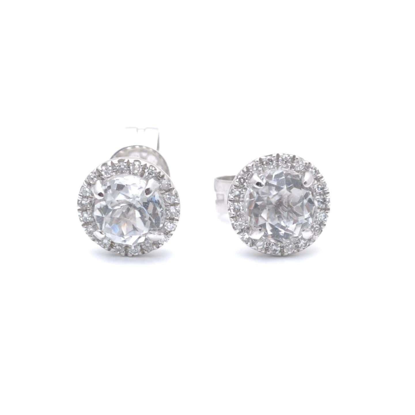 white sapphire diamond halo stud earrings 14k