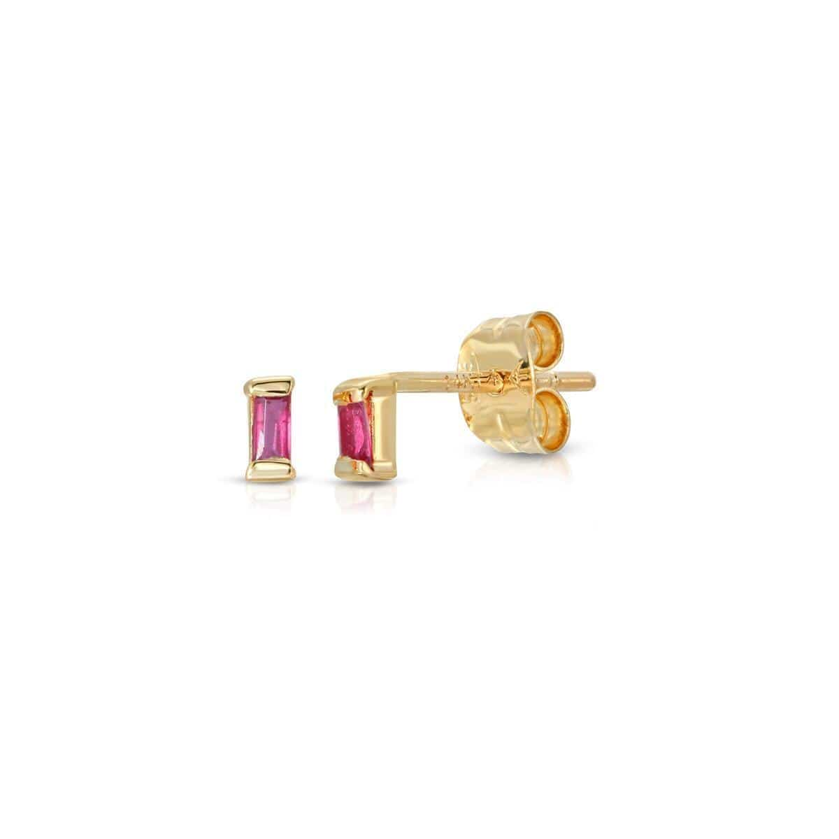 Baguette Ruby Studs