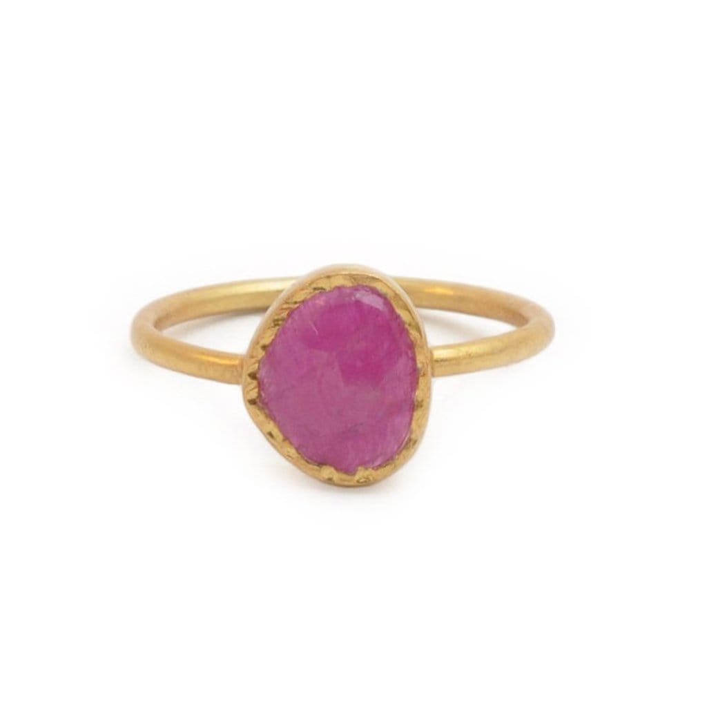 Oblong Hammered Ruby Band Ring
