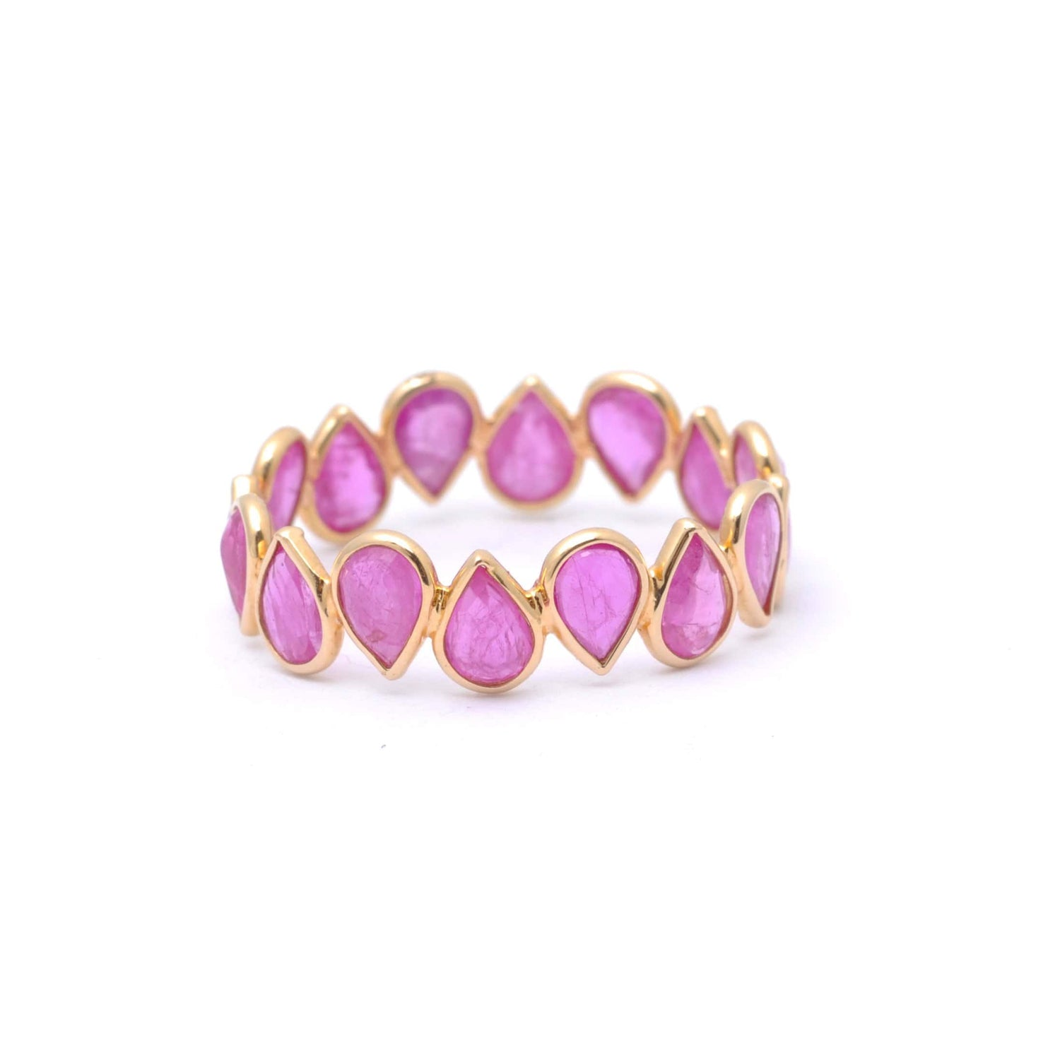Red Ruby Pear Shape Eternity Ring