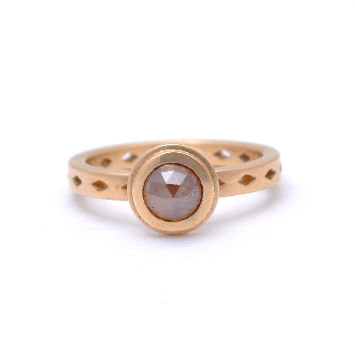 Rustic Diamond Matte Rose Gold Ring Santi Rom Alternative Engagement Ring