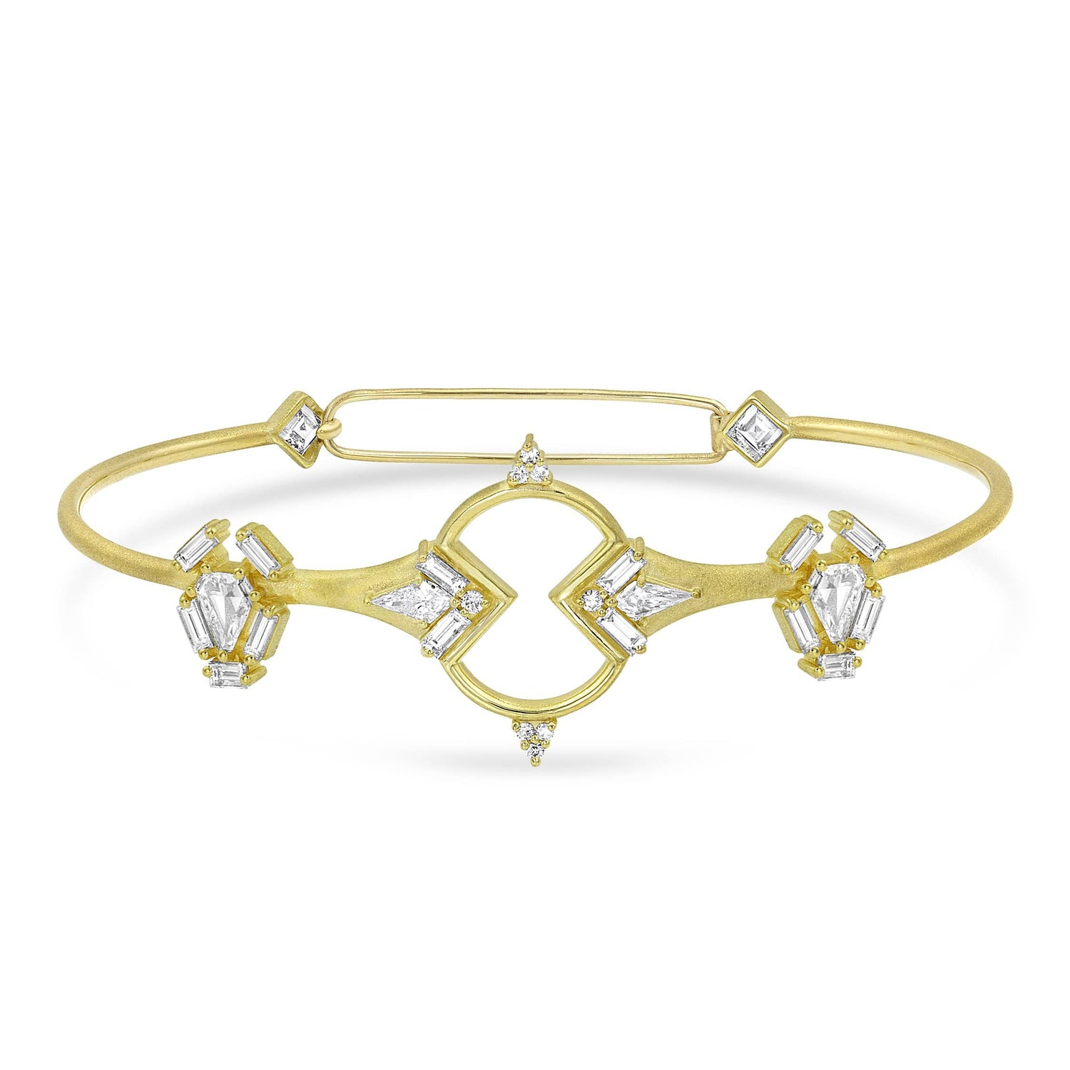 Diamond Shield Open Work Yellow Gold Bangle Bracelet