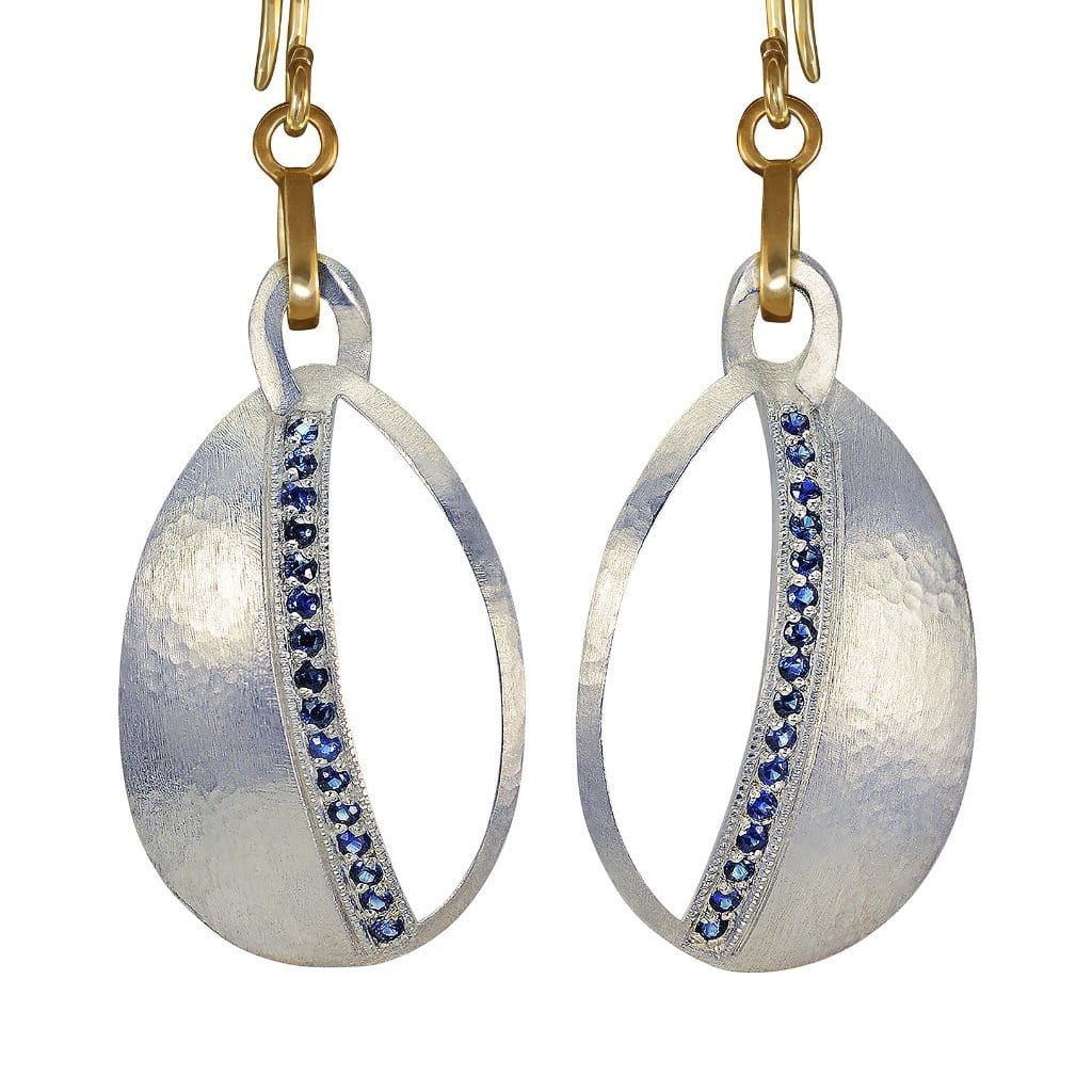 Blue Sapphire Silver and Gold Dangle Earrings - Curated Los Angeles