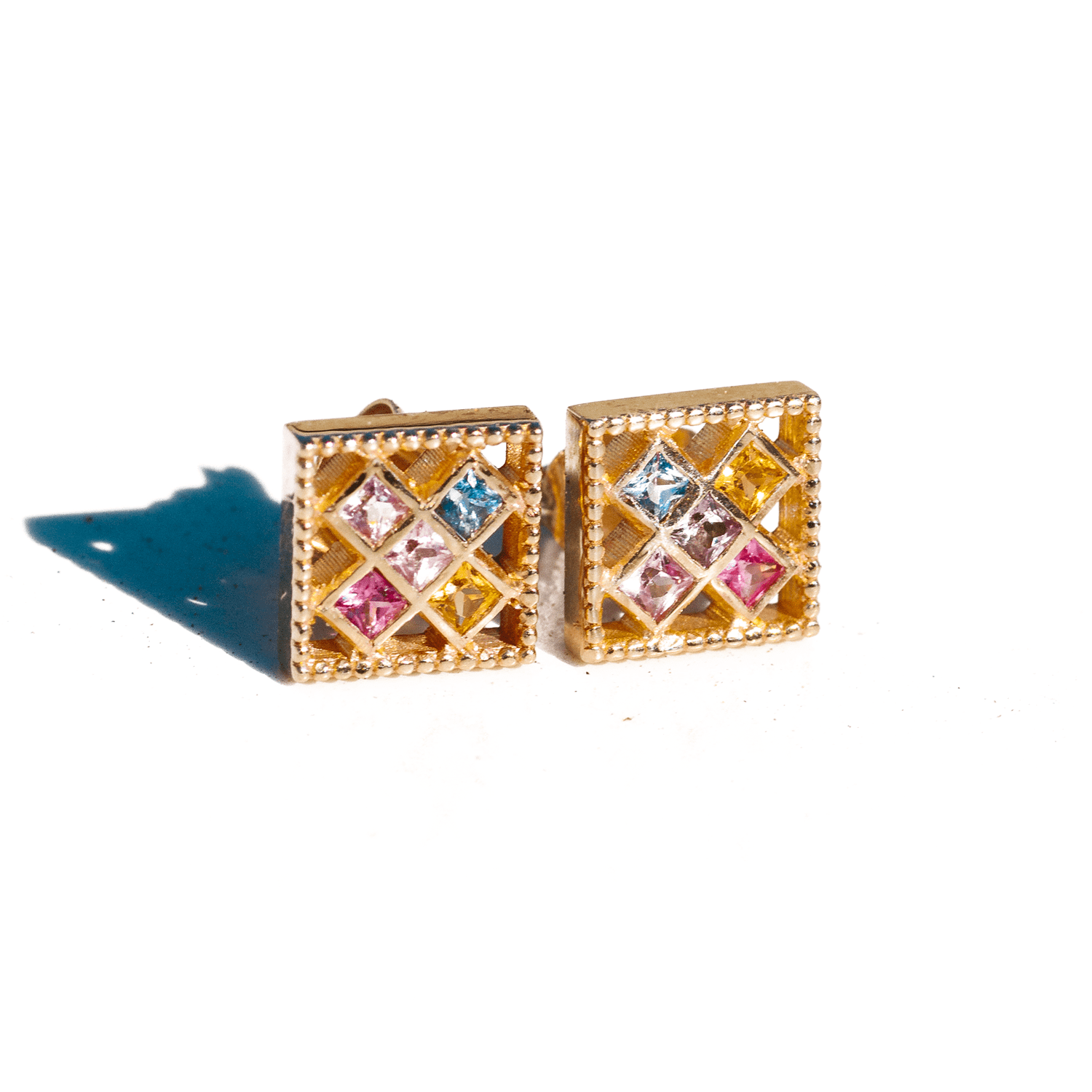 Rainbow Sapphire Square Stud Earrings