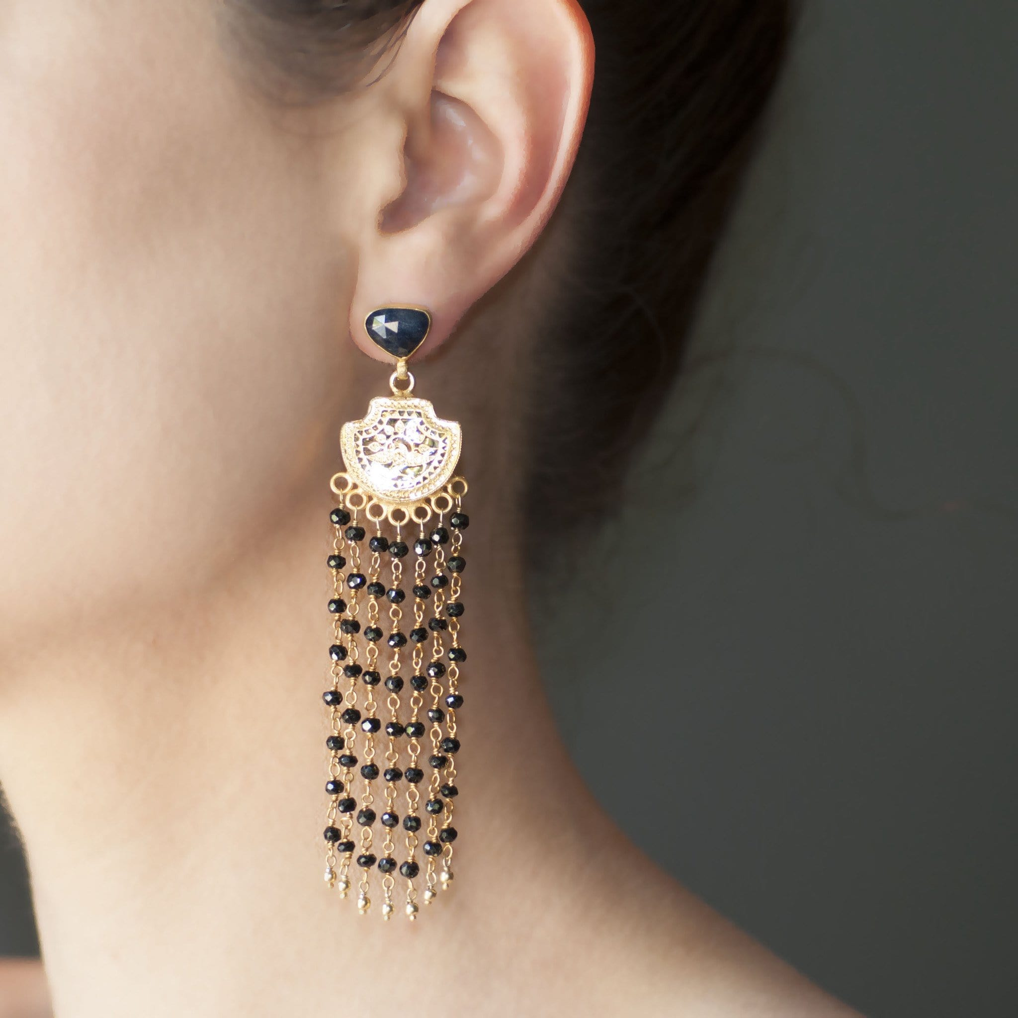 Black Sapphire Onyx Chandelier Earrings - Curated Los Angeles