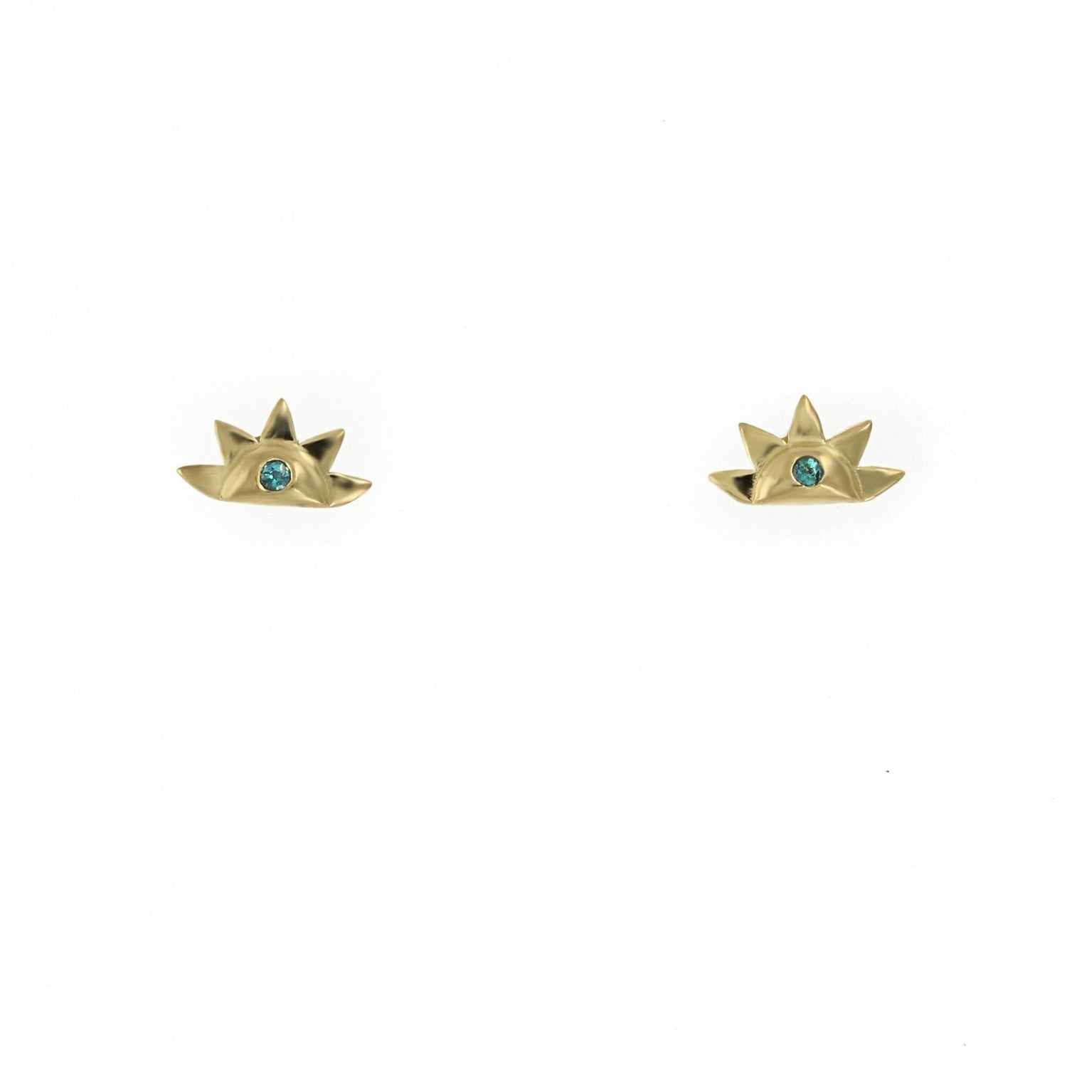 Light Blue Sapphire Gold Sunrise Studs