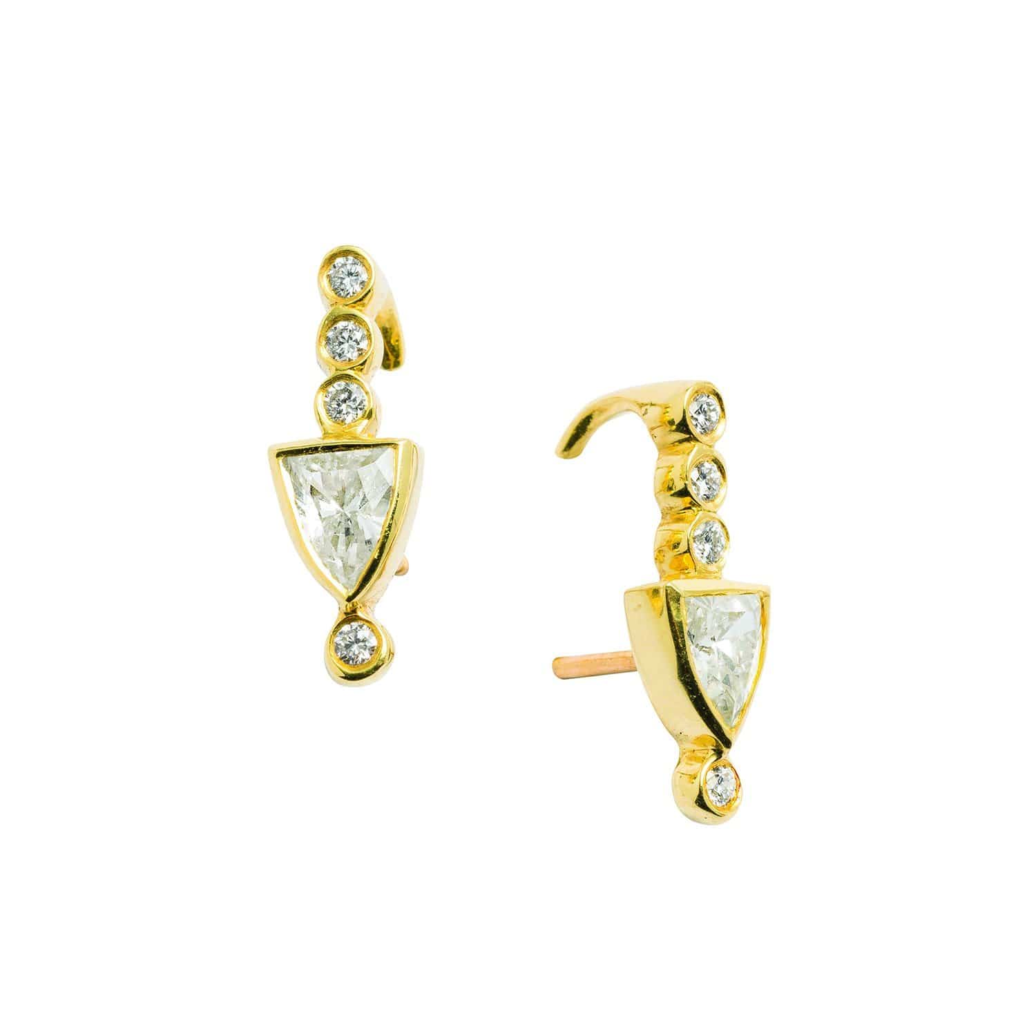 Diamond Pave Shield Yellow Gold Studs Meredith Young