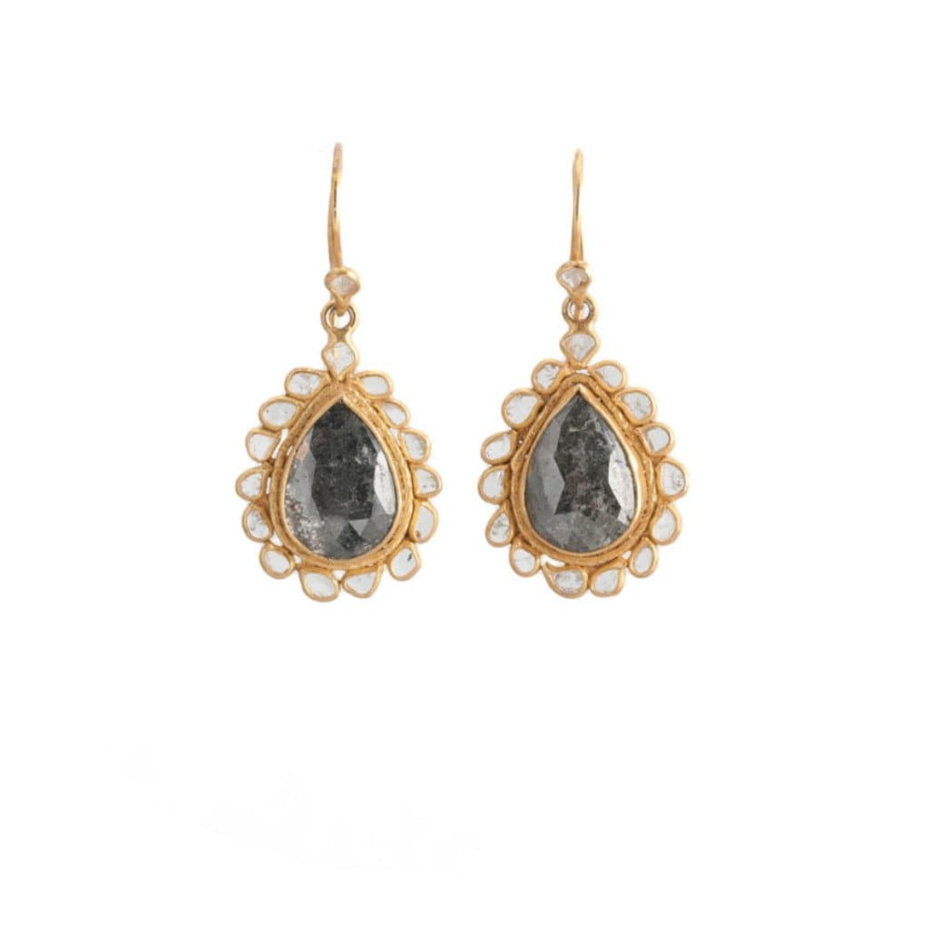 Black Diamond and Diamond Slice Earrings - Curated Los Angeles