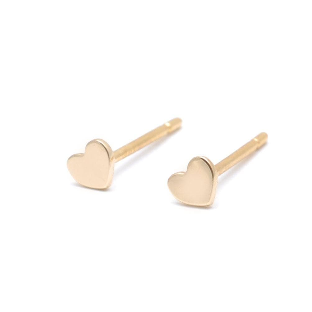 Small Yellow Gold Heart Earrings CLA Curated Los Angeles