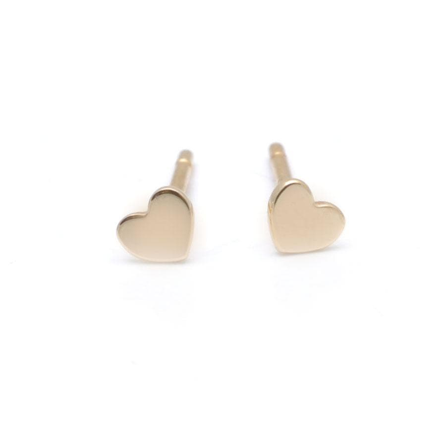 Small Yellow Gold Heart Studs Curated Los Angeles