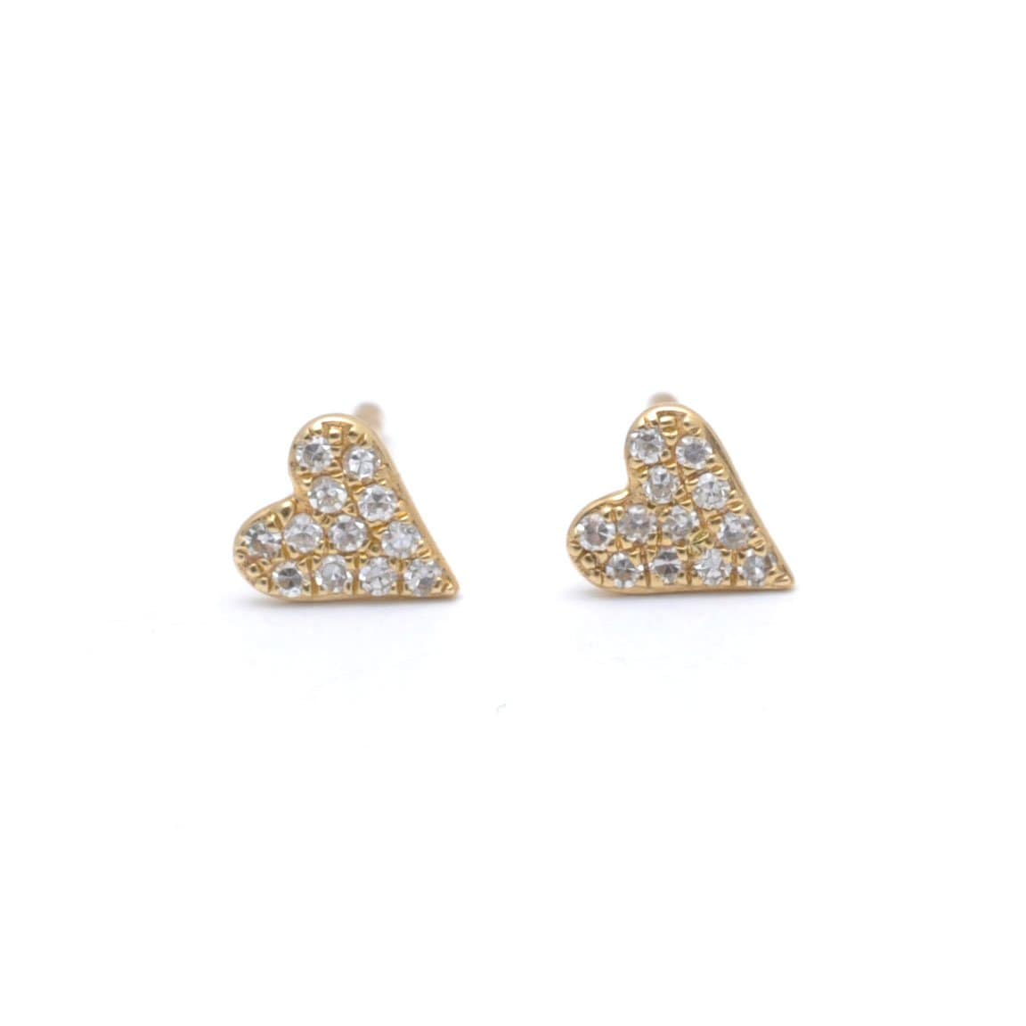 Petite Diamond Gold Heart Studs 14k