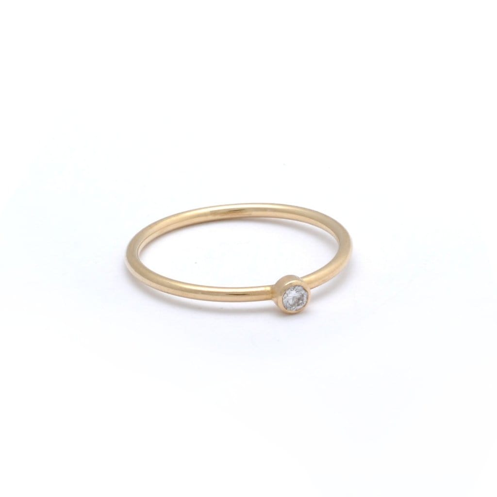 gold Solitaire Diamond Stackable Ring