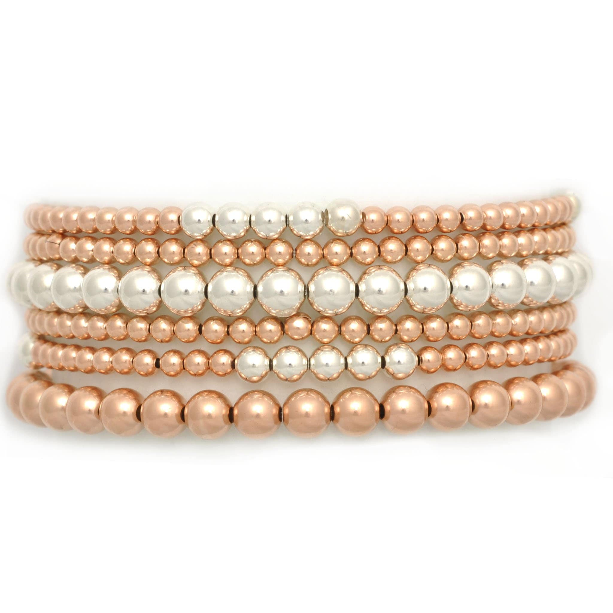 Two Tone Silver and Rose Gold Bead Bracelet - Curated Los Angeles