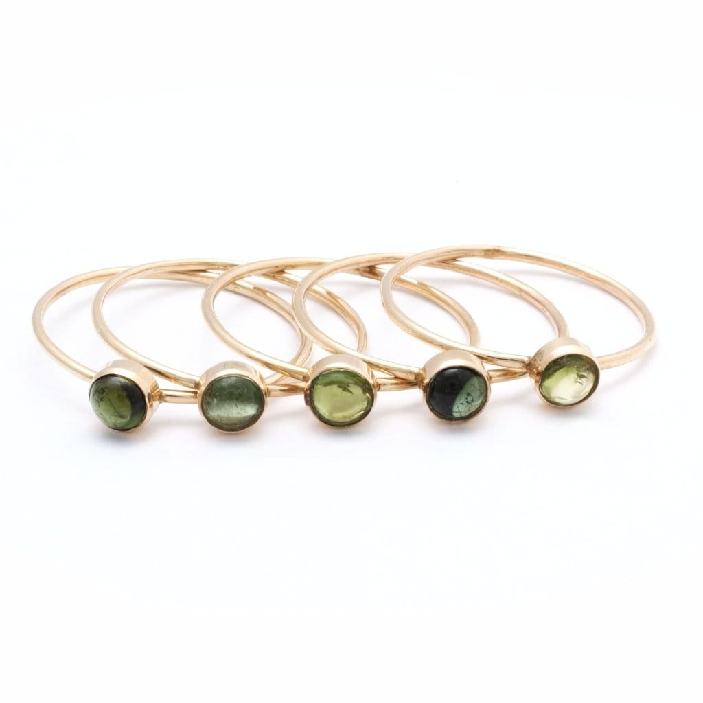 Light Green Tourmaline Cabochon Solitaire Ring - Curated Los Angeles
