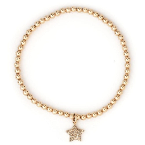 Karen Lazar 3mm Diamond Star Charm Gold Bead Bracelet - Curated Los Angeles