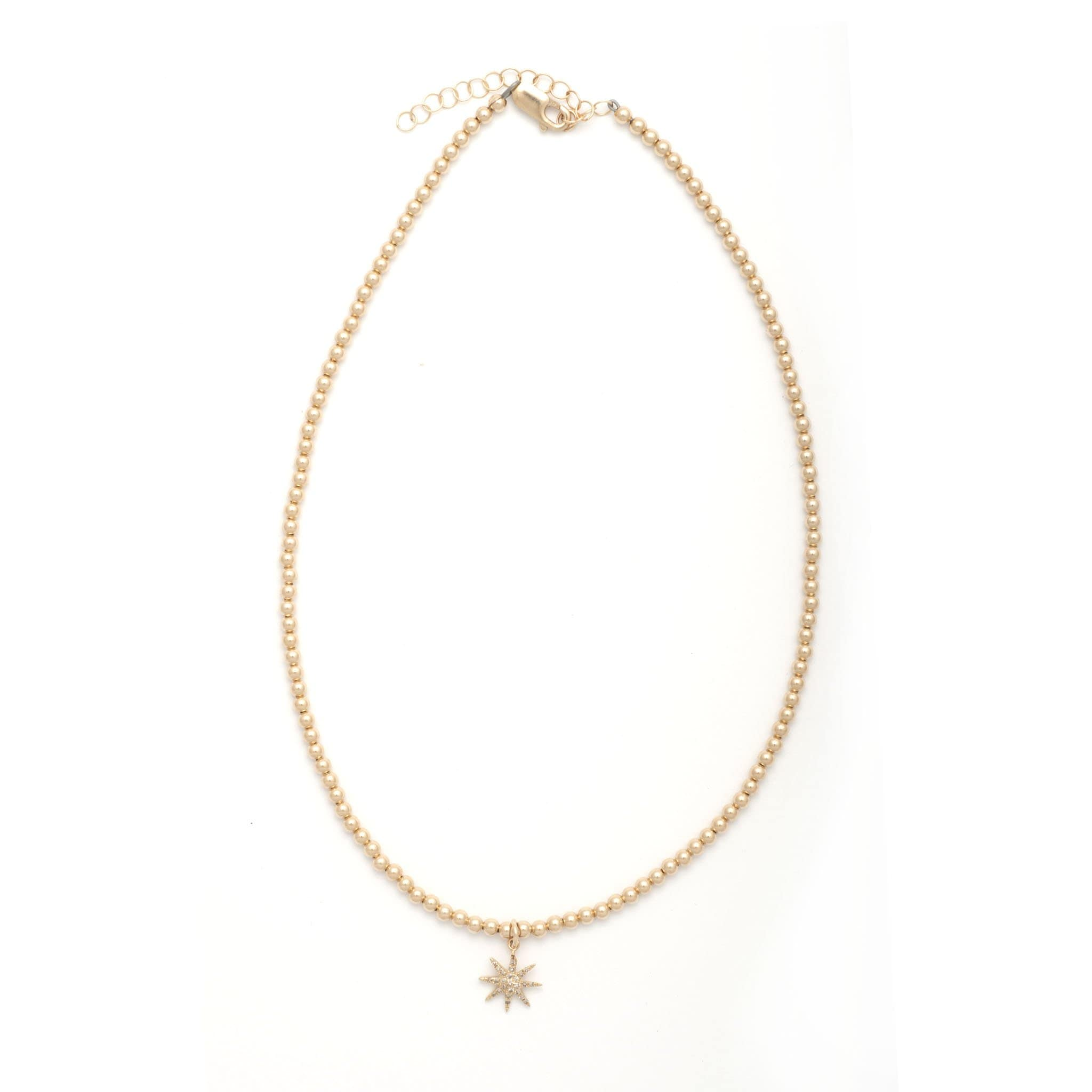 Karen Lazar Diamond Starburst Gold Bead Necklace - Curated Los Angeles