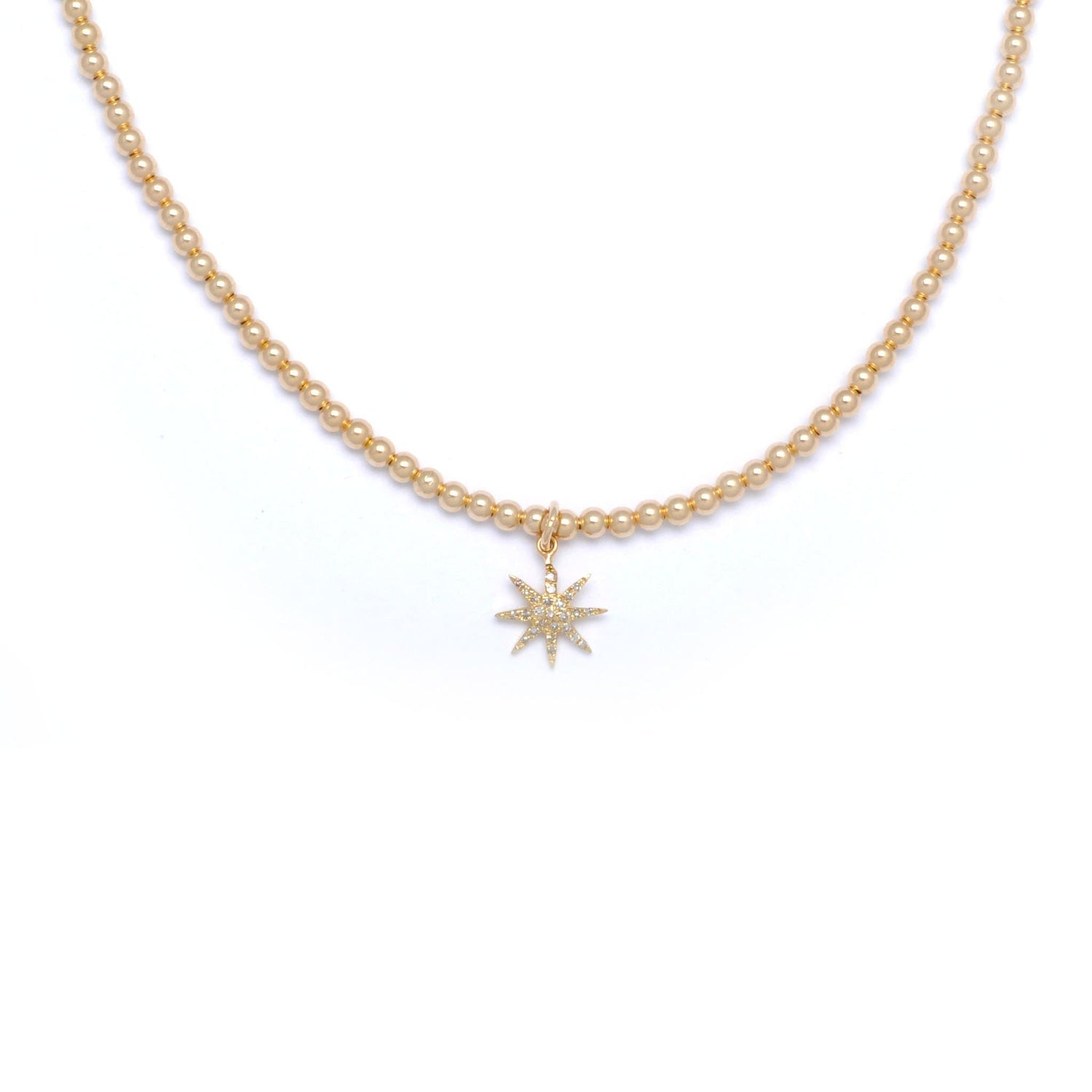 Karen Lazar Diamond Starburst Gold Bead Necklace