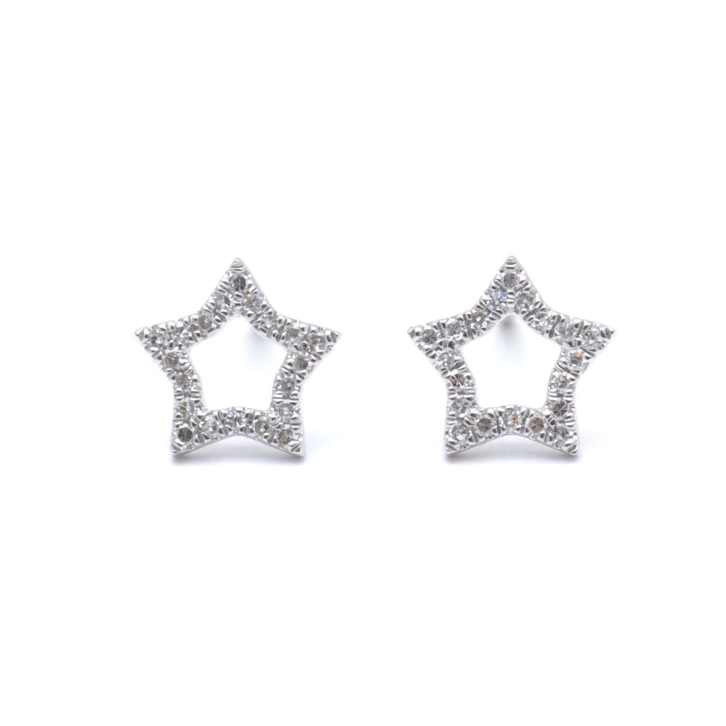 Diamond Star Outline White Gold Studs