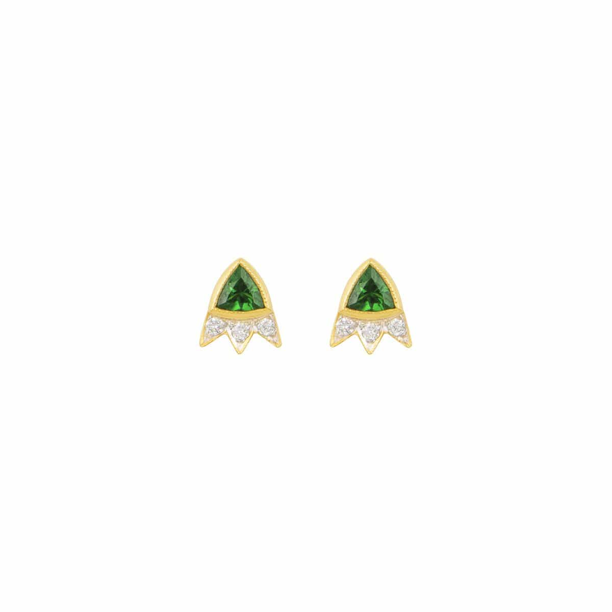 Green Tsavorite Trillion Cut Starburst Diamond Earrings