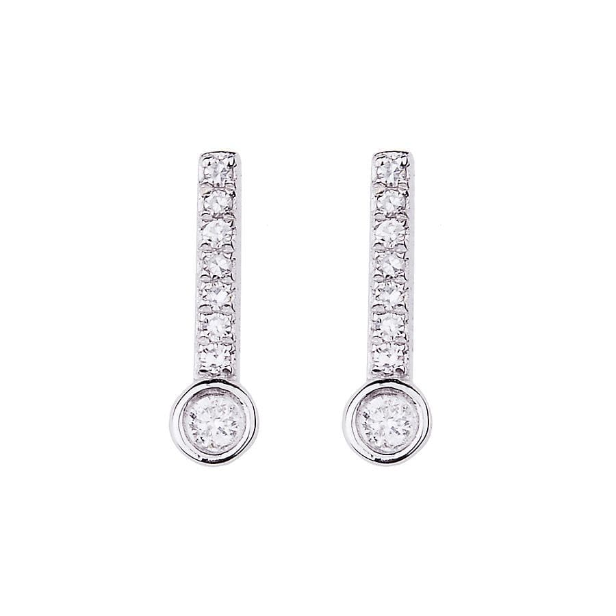 Diamond Pave Round Diamond Bar Studs