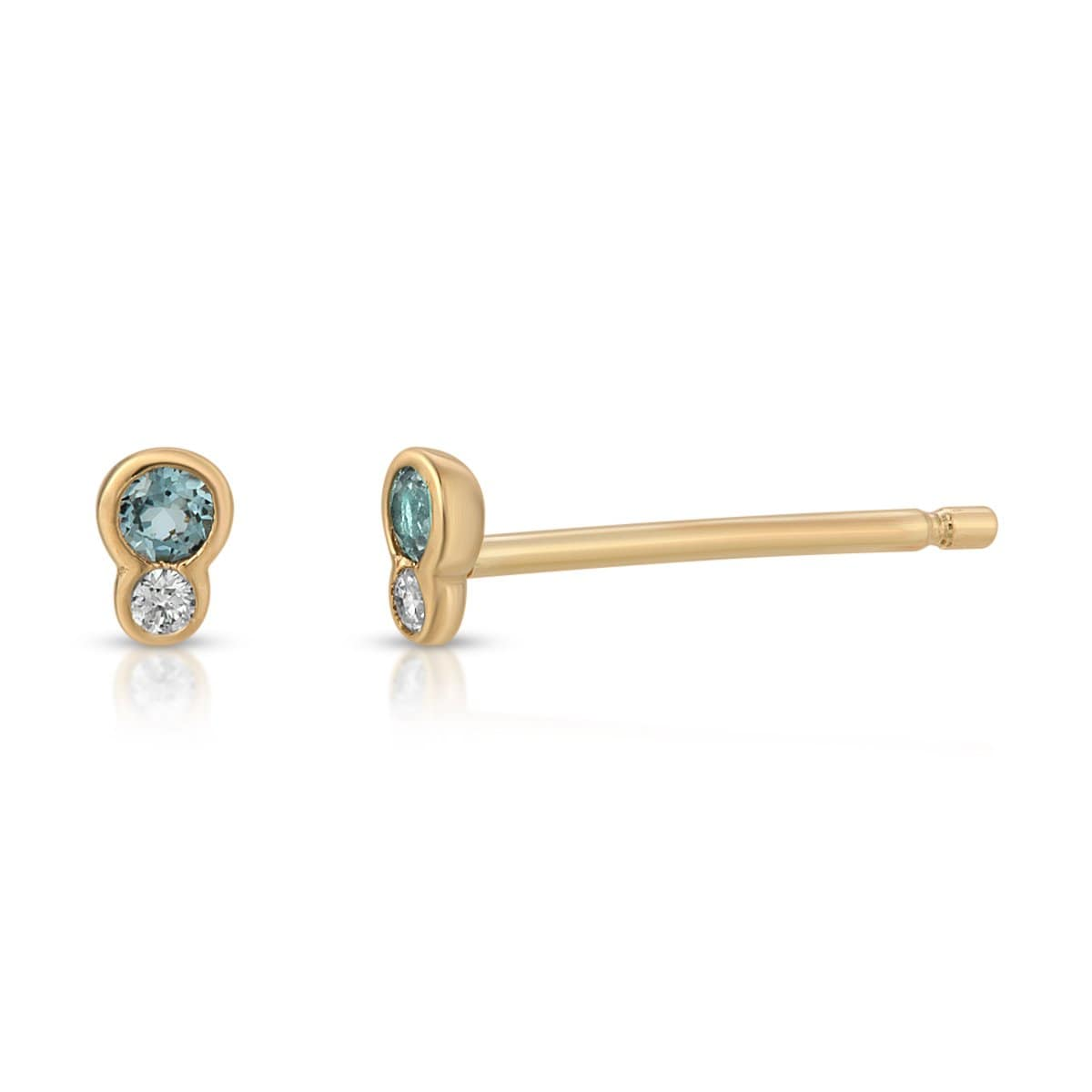 Blue Topaz Diamond Yellow Gold Earrings Letreaime