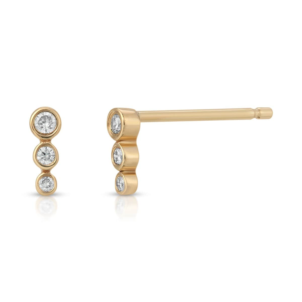 Three Diamond Graduated Size Bar Studs