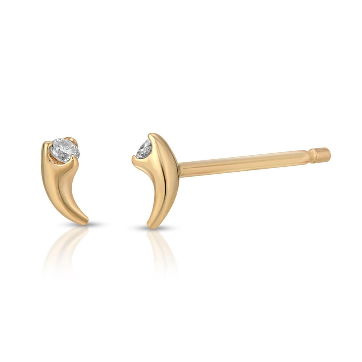 Diamond Yellow Gold Claw Studs