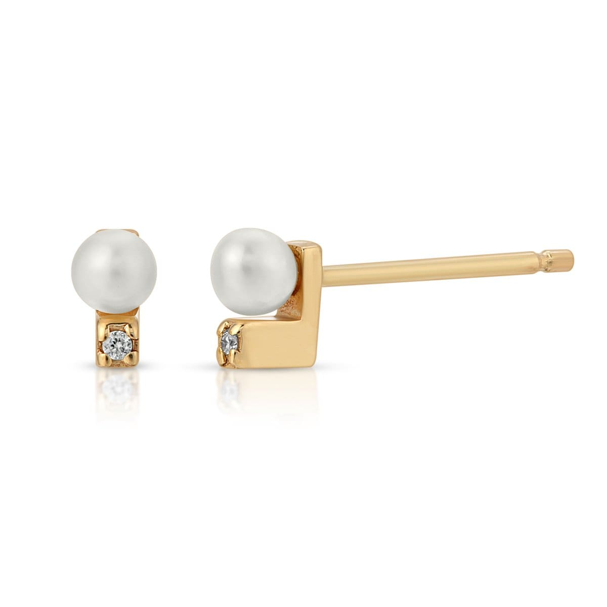 Diamond Pearl Yellow Gold Studs