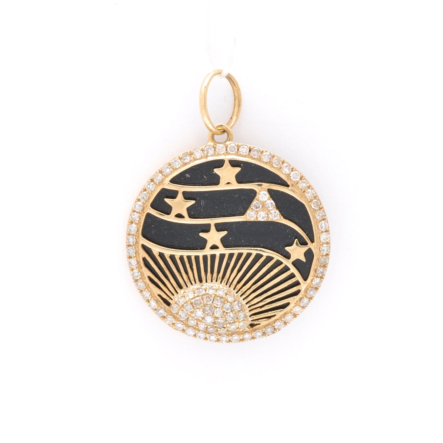 Rising Moon Black Enamel Medallion
