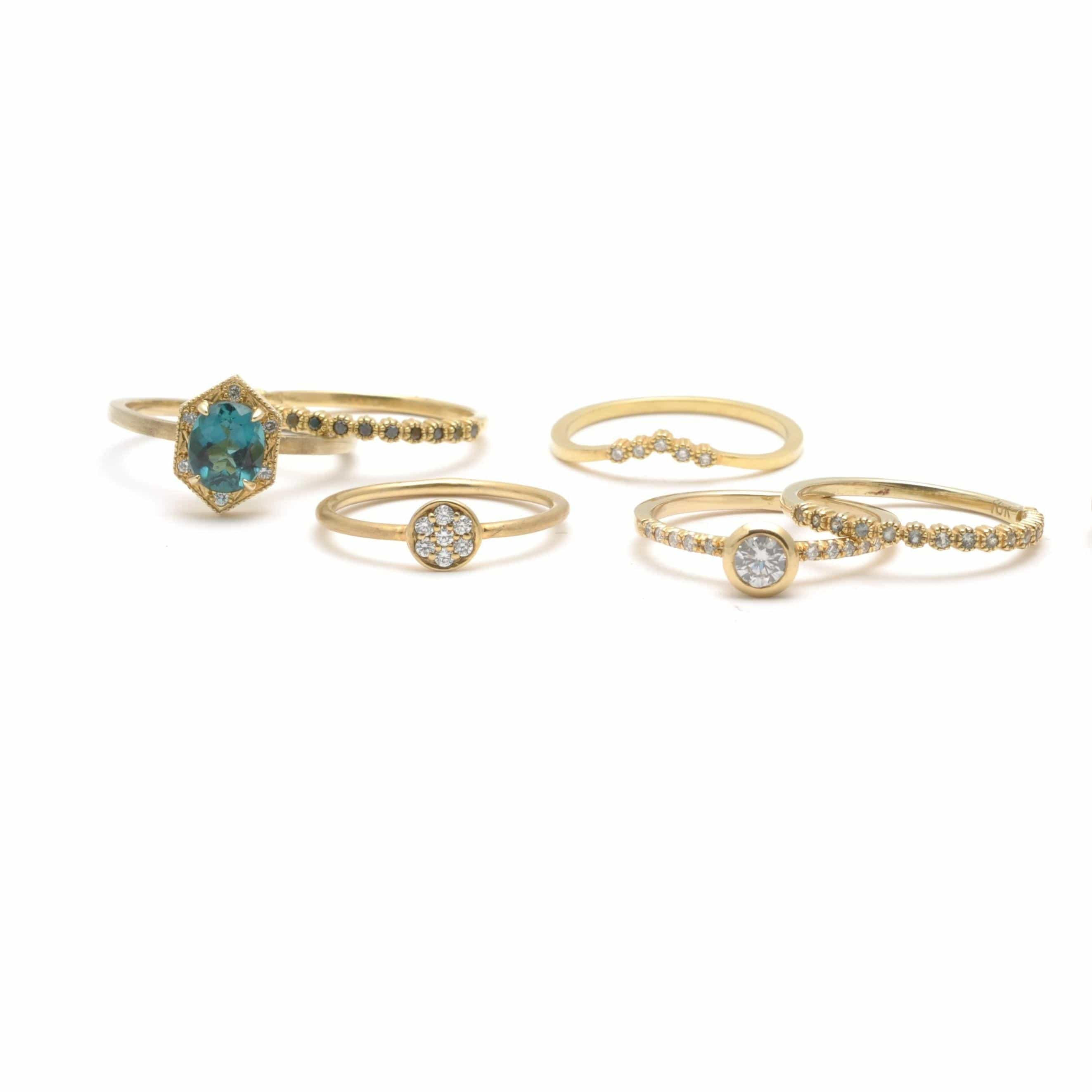 tourmaline diamond gold stacking rings and cocktail rings