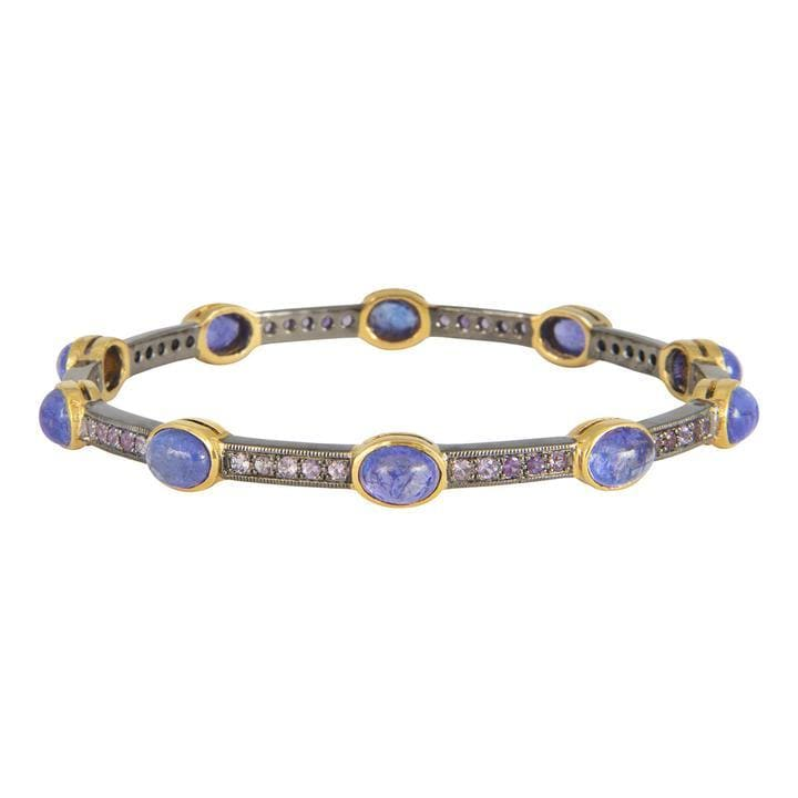Tanzanite and Purple Sapphire Two-tone Bangle