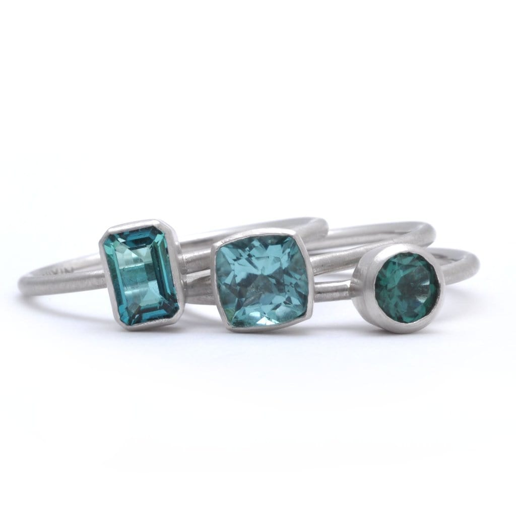 Aqua Tourmaline white gold rings