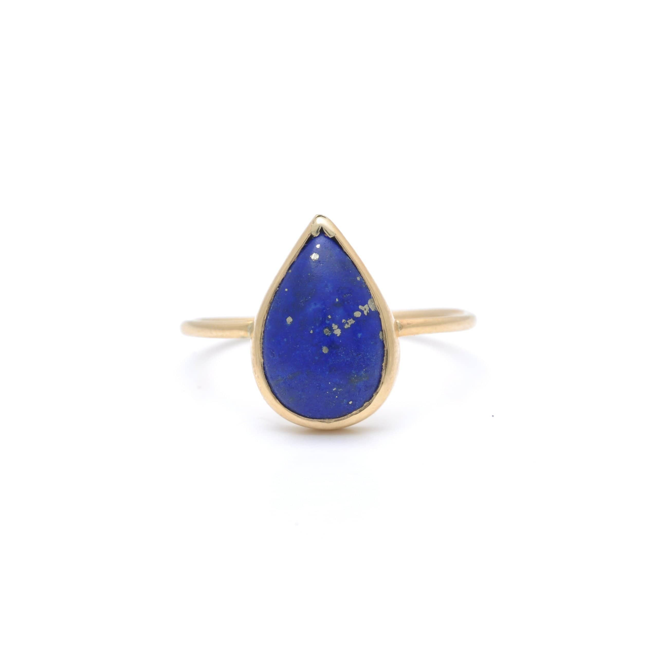 Lapis Lazuli Pear Cut Yellow Gold Ring Curated Los Angeles Caitlin nicole