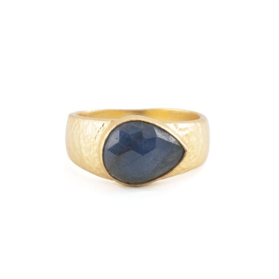 Hammered Teardrop Sapphire Ring