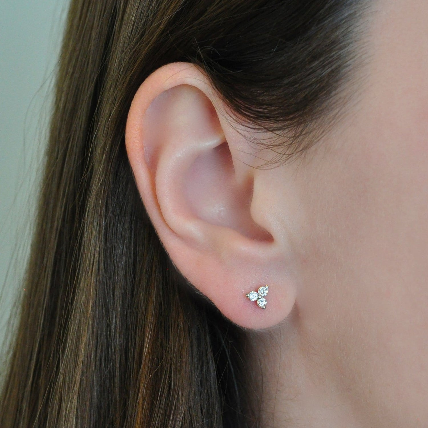 Three Diamond Cluster Studs