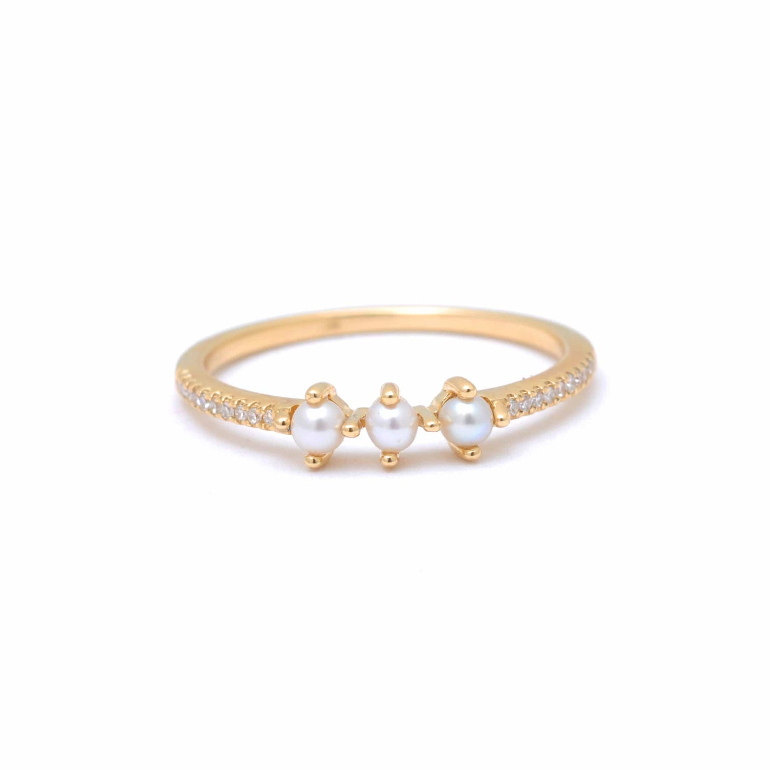 Three Tiny Pearl Diamond Pave Ring