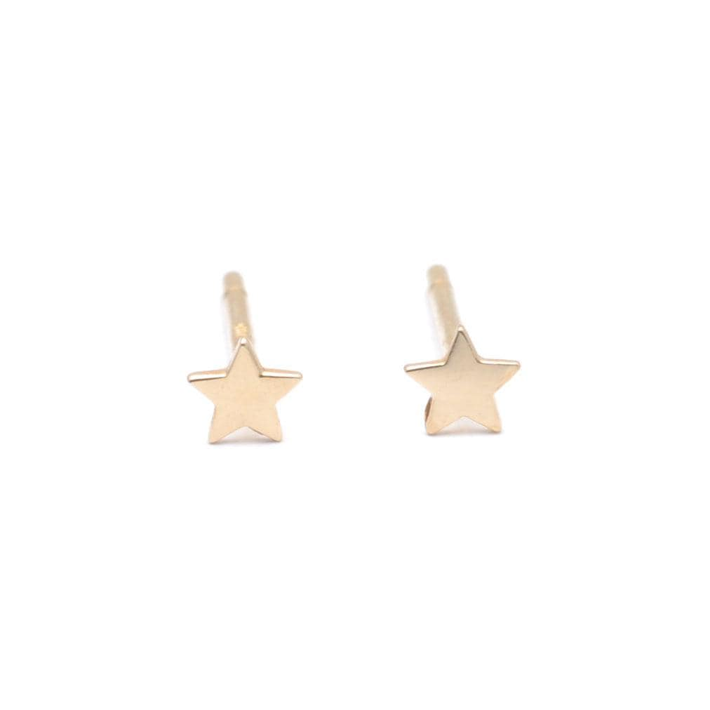 Tiny Star Yellow Gold Stud Earrings Curated Los Angeles