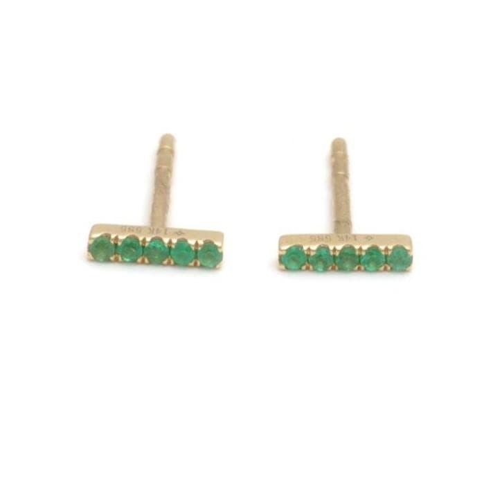 Emerald pave yellow gold bar studs