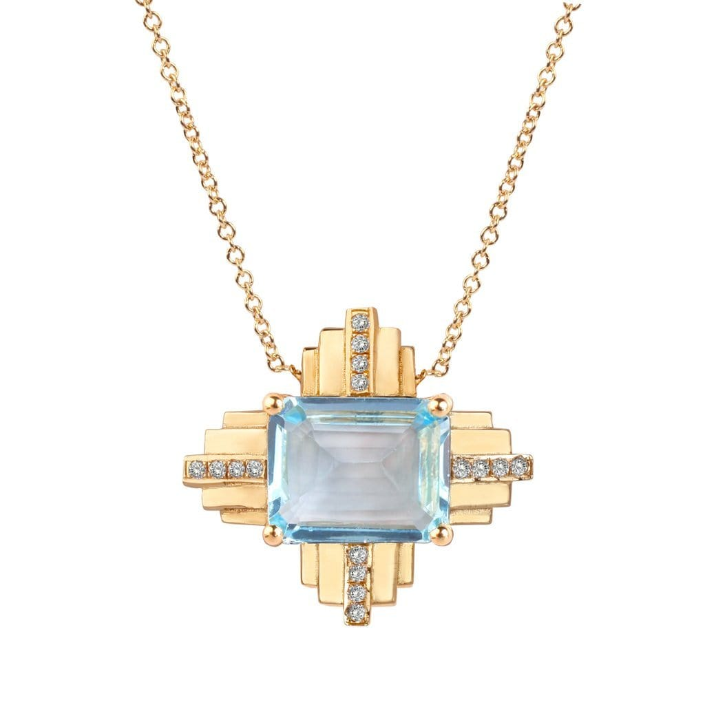 Blue Topaz Diamond Yellow Gold Deco Pendant Tarrah Jewelry