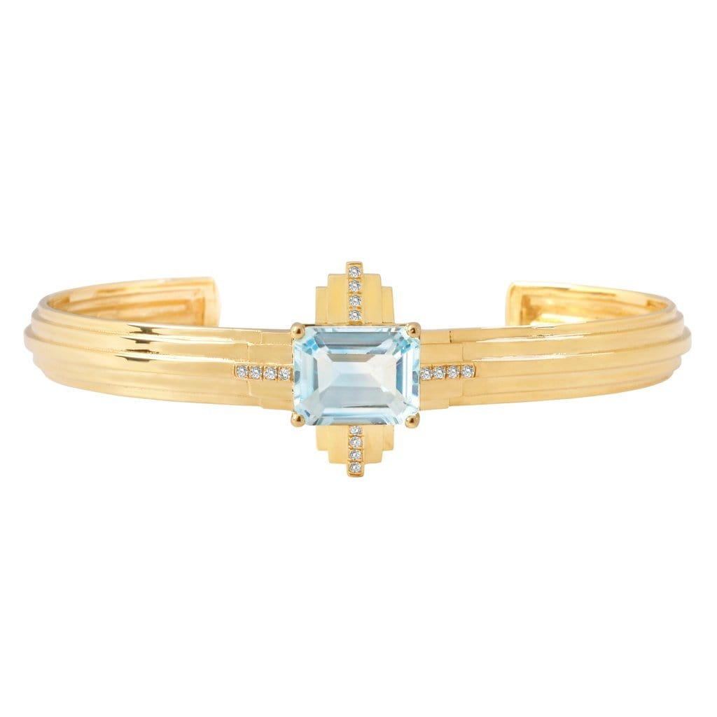 Blue Topaz Diamond Yellow Gold Deco Cuff