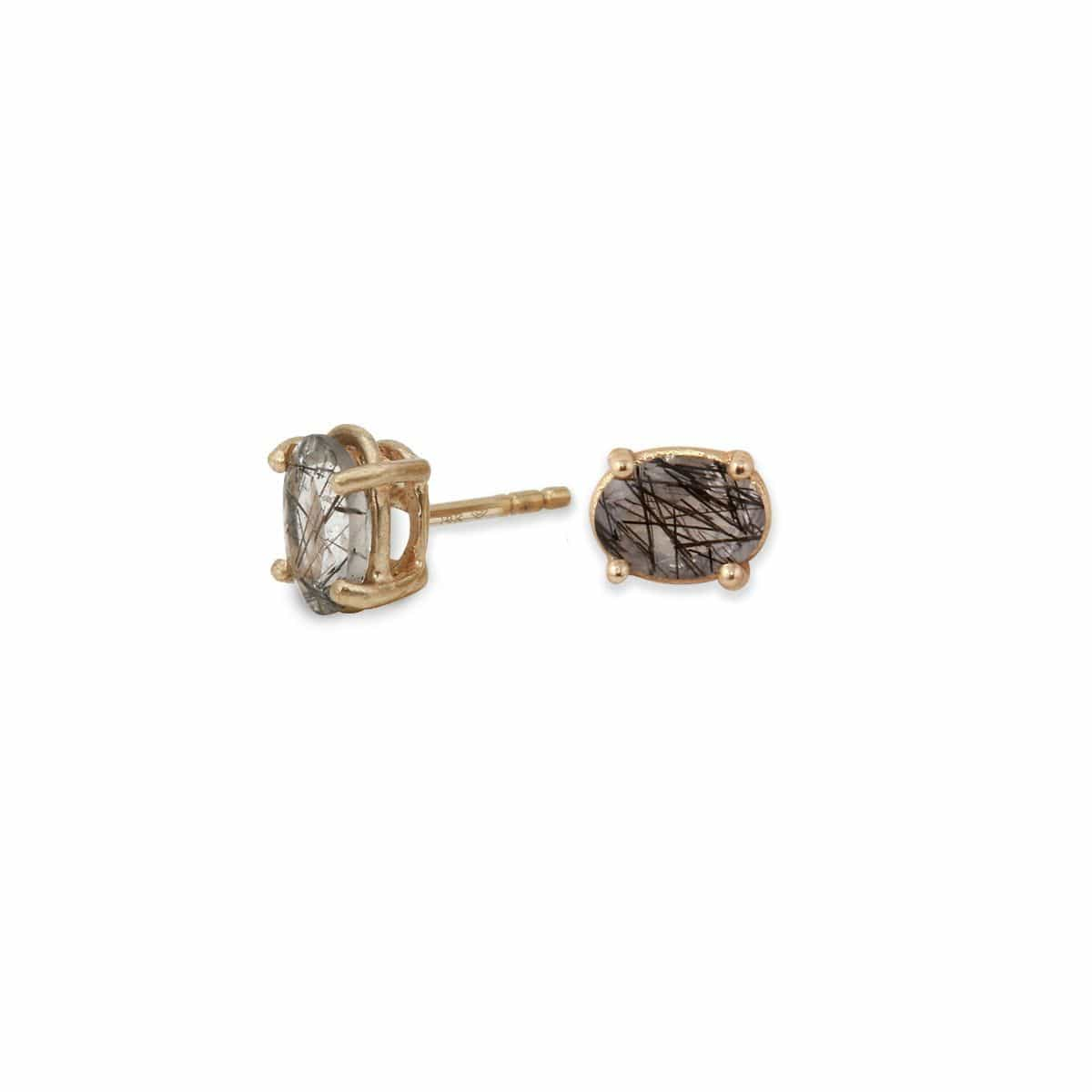 Tourmalinated Quartz Gold Studs