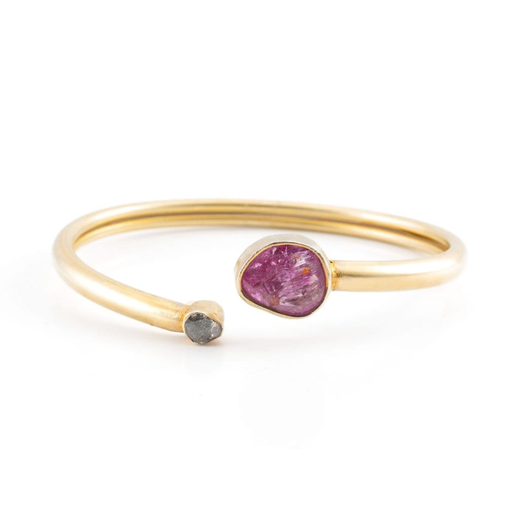 Tourmaline and Black Diamond Bangle - Curated Los Angeles