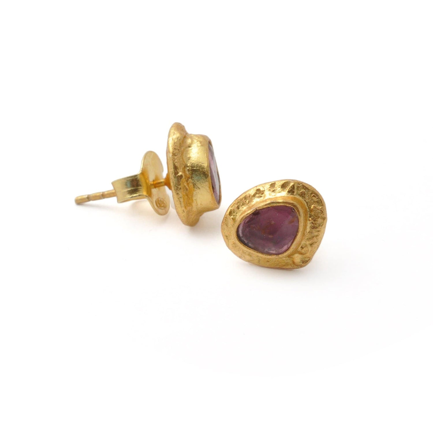 Hammered Edge Tourmaline Stud Earrings - Curated Los Angeles