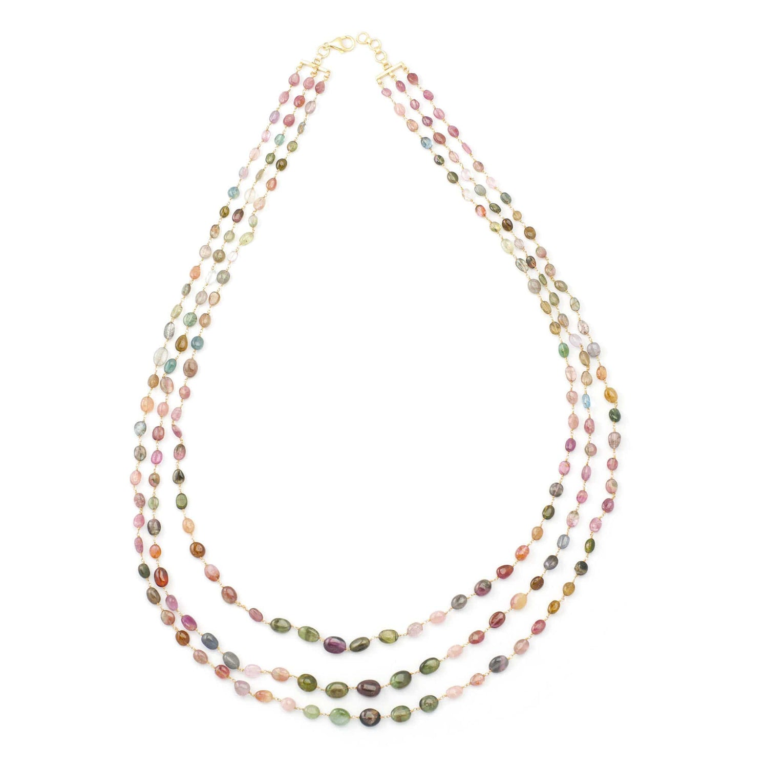 Three Line Watermelon Tourmaline Bead Necklace