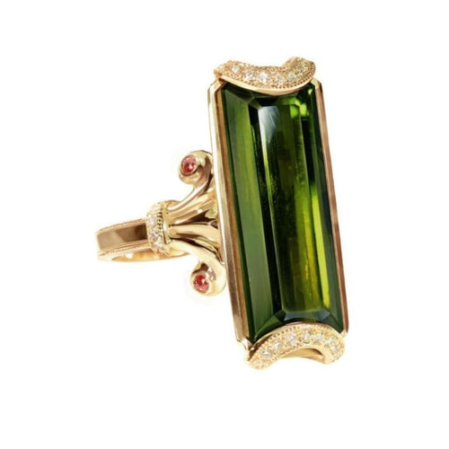 Dark Green Tourmaline Diamond Statement Ring - Curated Los Angeles